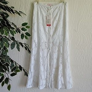 NWT white lace sunflower button-down maxi skirt